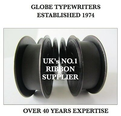 2 x 'DELUXE 850TR' *BLACK* TOP QUALITY *10 METRE* TYPEWRITER RIBBONS +*EYELETS*