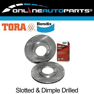 2 Slotted+Drilled Front Disc Brake Rotors + Bendix 4x4 Pads Patrol MQ MK GQ Y60