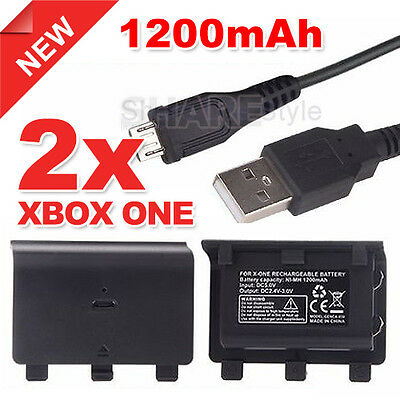 2x 1200mAh Rechargeable Battery Pack For Xbox One Controller + USB Cable