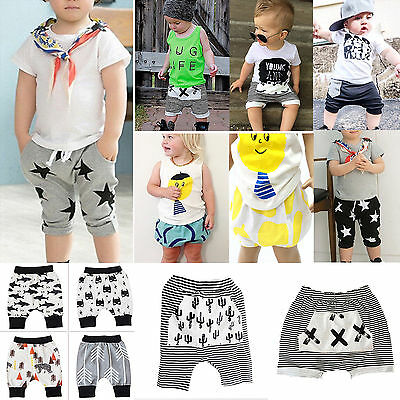 Baby Boys Harem Short Pants Kids Baggy Trousers Striped Toddler Summer Nightwear