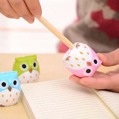 2pcs Cute Lovely Owl Pattern Pencil Sharpener School Kid's Favorite Beautiful