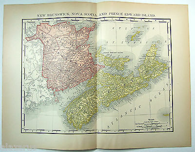 Rare Original 1895 Map of New Brunswick, Nova Scotia & PEI by Rand McNally