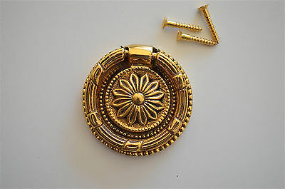 Victorian brass sunflower ring pull drawer handle draw desk chest cabinet 2016