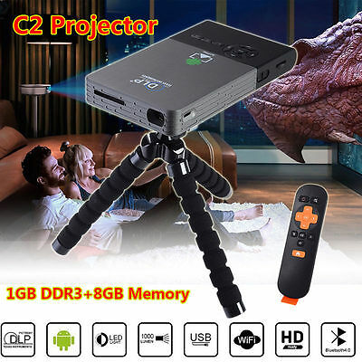 Smart HD 1080P Android 4.4 BT 4.0 Mini C2 Portable Cinema Projector Home Theater