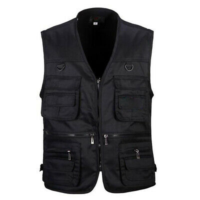 Men's Multi Pocket Fishing Vest Outdoor Photography Waistcoat Hunting Zip Jacket