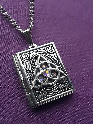 TRIQUETRA BOOK OF SHADOWS Clear AB PHOTO LOCKET PENDANT & NECKLACE Wiccan Pagan