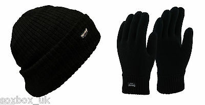 Men's Winter Thermal Lined Thinsulate Black Hat & Gloves Set