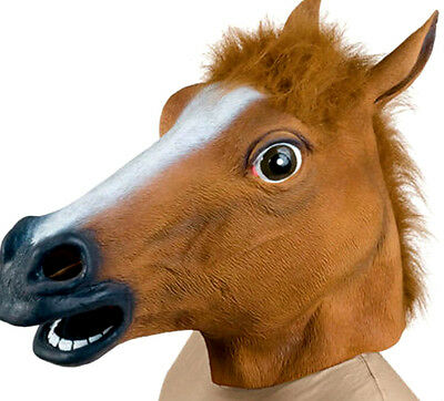 Horse Head Mask Rubber Panto Fancy Dress Party Cosplay Halloween Costume Adult U