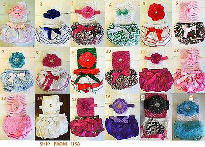 Pick 1 Set of New Born Infant Girl Baby Ruffle Pants Diaper Cover Bloomer