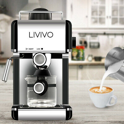 Livivo Black Pro Electric Espresso Cappuccino Coffee Maker Machine Home Office