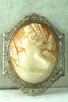 1920's Antique 14K White Gold Demeter Wheat Cameo Pin Pendant For A Necklace
