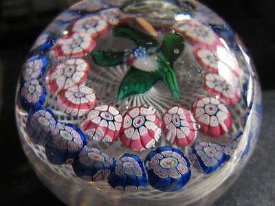 Antique New England Glass Company Double Garlanded Posy latticinio Paperweight