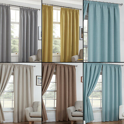 """Textured Woven Plain Thermal Blockout Linen Look 3"""" Tape Top Pair Curtains"""