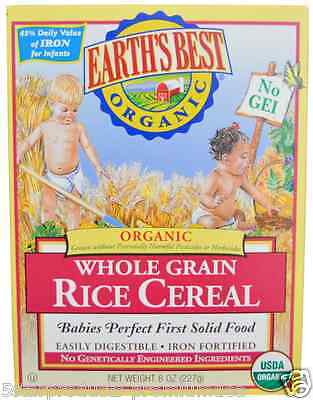 New Earth's Best Organic Whole Grain Rice Cereal Iron Source Infants Daily Care
