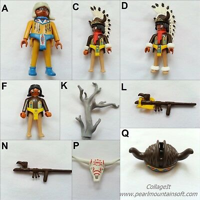 Playmobil Vintage 3732 Indians Buffalo Dancers Weapons Tree Skeleton Pipe-Choice