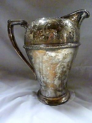 """Stamped Wm. Rogers """"rosalie #4517"""" Silver Plated Water Pitcher Antique 9"""" Tall"""