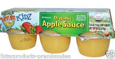 New Earth's Best Kidz Organic Apple Sauce 6 Containers Vitamin C Infant Healthy