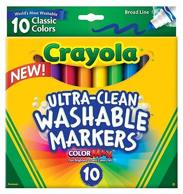 Crayola® Markers, Broad Line, Ultra-Clean Washable 10ct Classic Colors Color Max