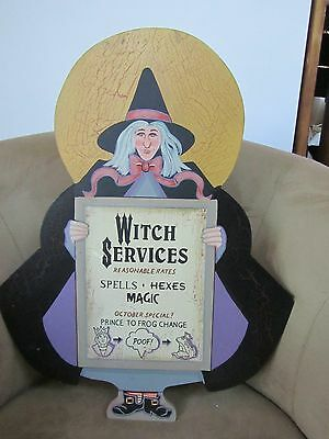 """Halloween Witch Advertising Her Magic Services Plaque-21 1/2"""" High!"""