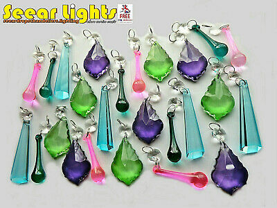 25 Chandelier Glass Crystals Vintage Colour Light Parts Drops Beads Prisms Retro