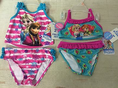 New Baby Toddler Swim Suits Size 2T 3T Girls Disney Frozen 2 Piece Suits
