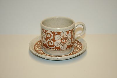 BILTONS IRONSTONE TABLEWARE Cup and Saucer Set Mod Flowers Pattern 1970s  NEW!