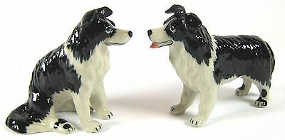 Miniature Porcelain Hand Painted Border Collie Dog Figurine Set of 2  Dogs