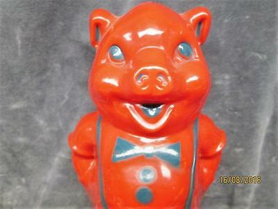 Vintage Red Plastic Pig With A Bow Tie Bank Made In The U.s.a.