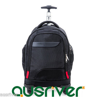 """New 20"""" Luggage Backpack Carry On Travel Laptop Bag Universal Wheels Large Black"""