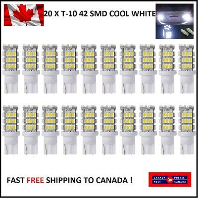 20 X T10/921/194 Car LED COOL White 42SMD Bulbs W5W RV Trailer Backup Reverse