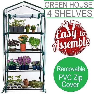 Greenhouse Garden Shed PVC Cover 4 Shelf Hot House Plant Storage 70x50x160 Tall