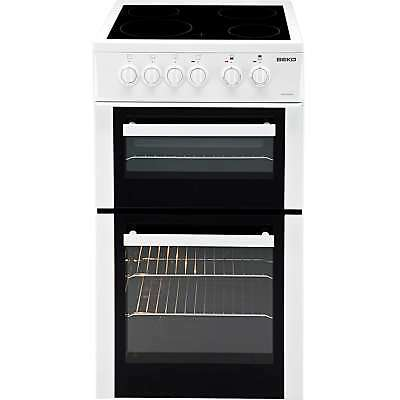 Beko BDC5422AW A 50cm Twin Cavity Ceramic Electric Cooker with 4 Burners White