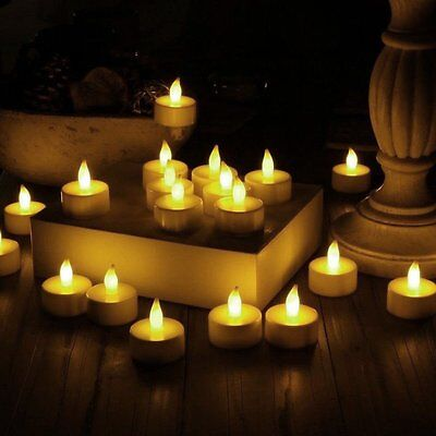 24 Amber Flameless Battery Operated LED Tea Lights Flickering Tealight Candles