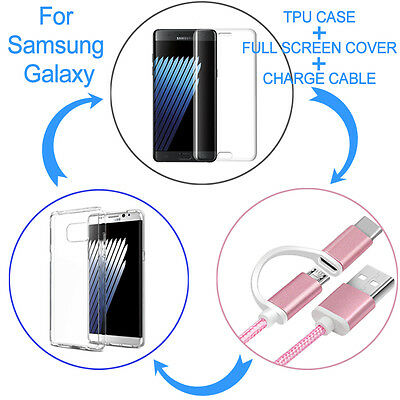 3 Bundles Full Cover Screen Protector + Soft TPU Case + Charge Cable for SAMSUNG