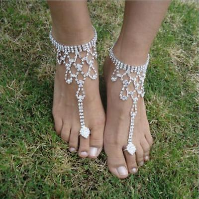 New Foot Anklet Casual Barefoot Sandals Beach Wedding Crystal Hollow out Women