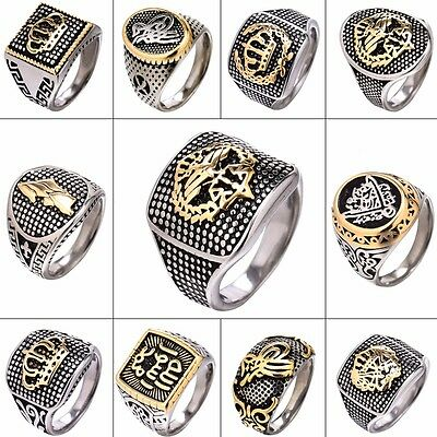 Vintage Silver & Gold Tone Stainless Steel Men's Signet Finger Rings US Sz 8-13