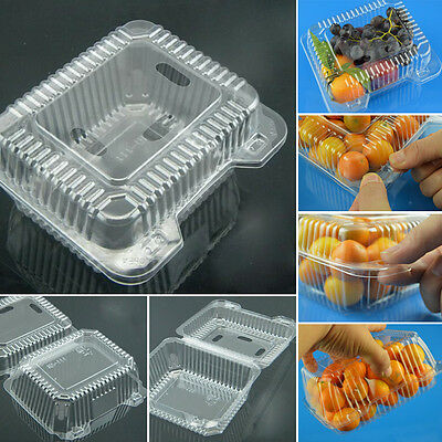500ml Disposable Plastic Containers Clear Box Container Flat Lid Salad 10/50 Pcs