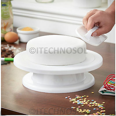 Cake Decorating Rotating Turntable Display Stand & Cake Smoother Sugarcraft Tool