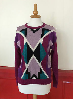 VINTAGE WOMEN'S JUMPER 1980S CRAZY AZTEC PURPLE (vj13) SIZE 12