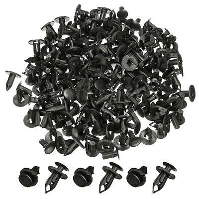 100 X Black Plastic Push Rivet Trim Panel Fastener Clips 8mm Dia Hole for Car