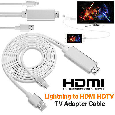 2M Apple Lightning Connect to HDMI TV AV Cable Adapter for iPhone 5 5C 5S 6 6S