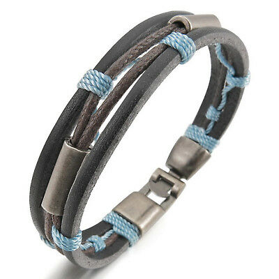 MENDINO Men's Alloy Leather Bracelet Braided Rope Seil Clasp Bangle Blue 8.5""