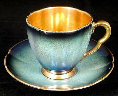 Carlton Ware Teal Blue/Green Demitasse Cup & Saucer with Gold Centre