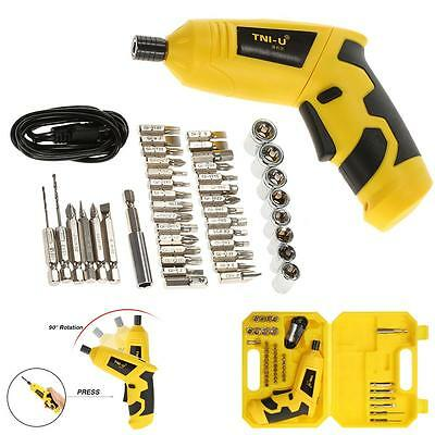 New 46 in 1 4V Rechargeable Cordless Electric Screwdriver Bits Sockets Set P5F6