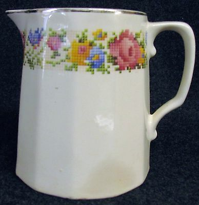 Vintage Pitcher with Needlepoint Flowers HARKER Pottery Company China (AB114)