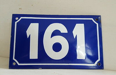 Long ANTIQUE FRENCH STEEL ENAMEL DOOR GATE HOUSE PLAQUE SIGN Blue Number 161