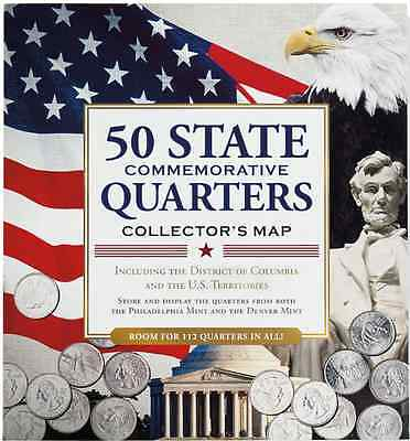 New! 50 State Commemorative Quarters Collector's Map (includes both mints).