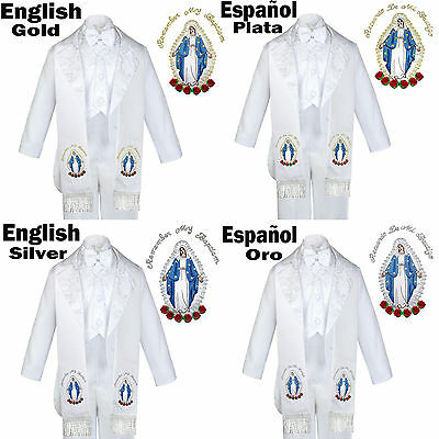6pc Christening White Tuxedo  English Spanish Colored Silver Gold Maria Stole