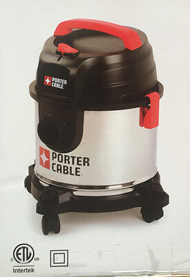New Porter Cable 4 Gallon Stainless Steel Wet/Dry Vacuum Home Garage Cleaner