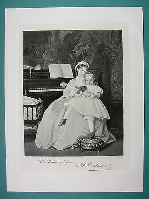 YOUNG MOTHER Daughter Reading Lesson Piano - Antique Photogravure Print